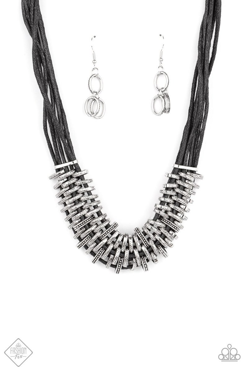 Lock Stock and Sparkle - Black Necklace