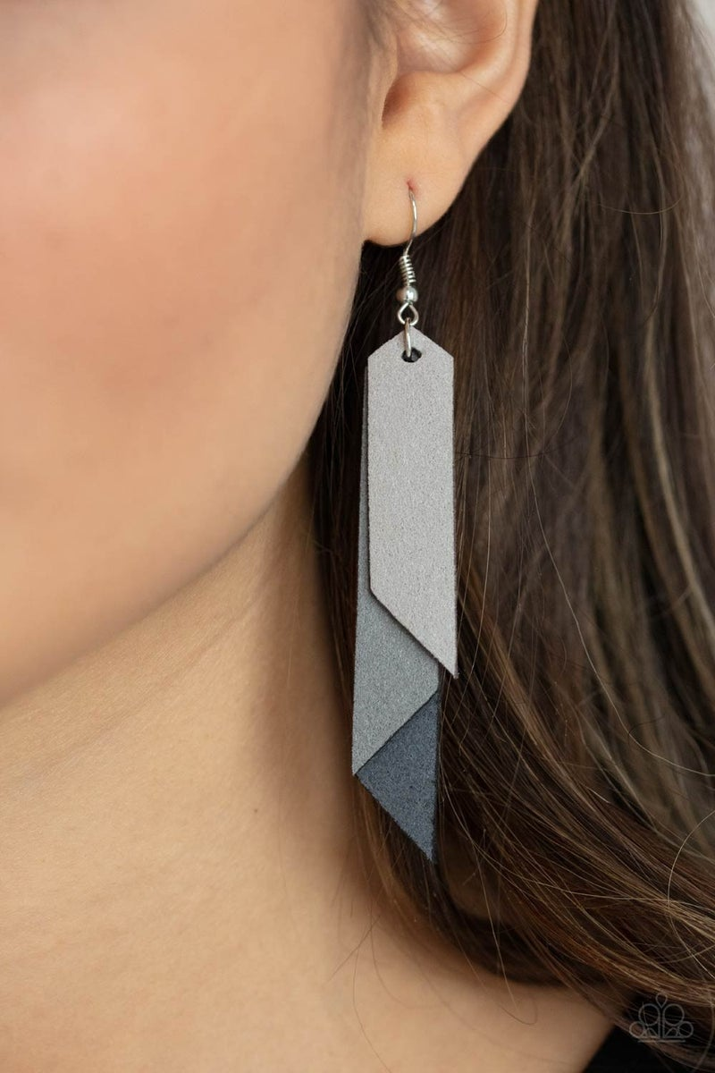 Suede Shade - Silver Earring