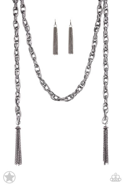 SCARFed for Attention - Gunmetal Necklace