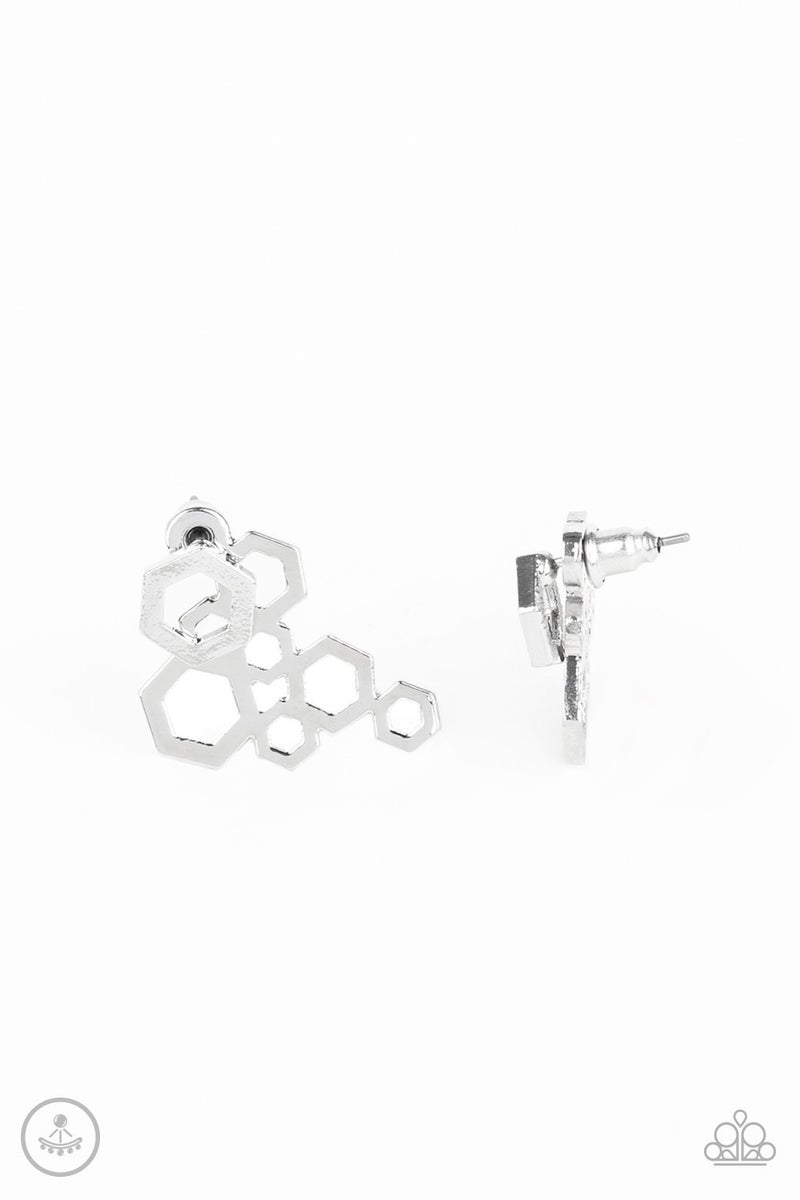 Six-Sided Shimmer - Silver Earring
