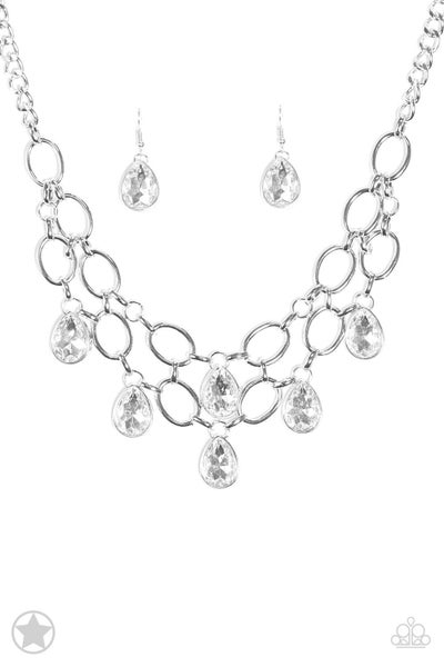 Show-Stopping Shimmer - White Necklace
