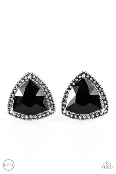Daringly Duchess - Black Clip-On Earring