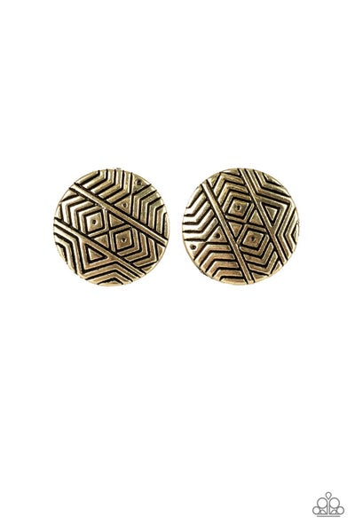 Bright As A Button - Brass Earring