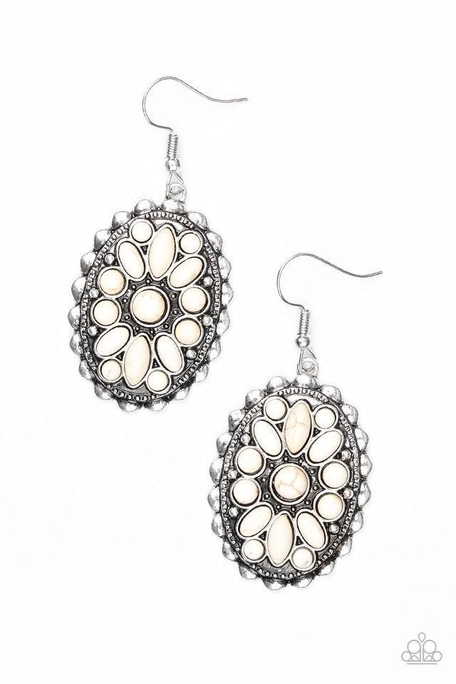 Prairie Poppy - White Earrings