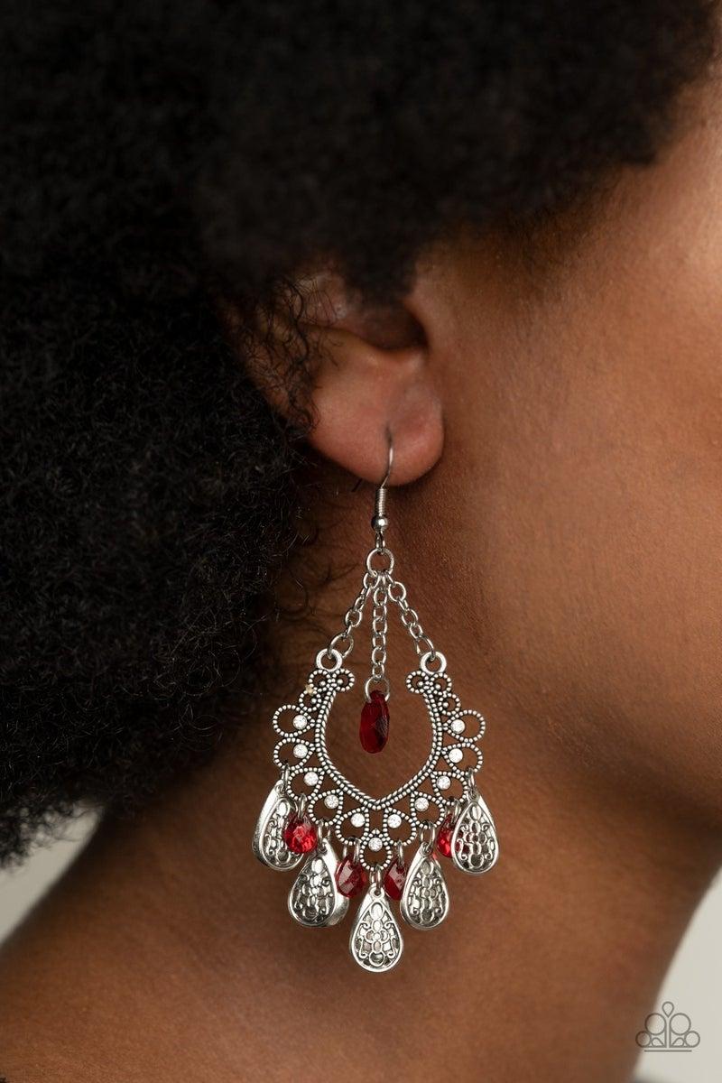 Musical Gardens - Red Earrings