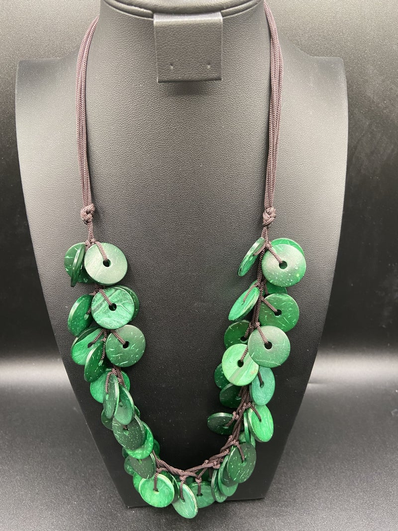 Wood Disc Necklace - Green