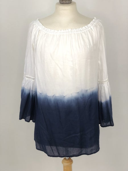 S Grace Elements Blue/White Ombre Top