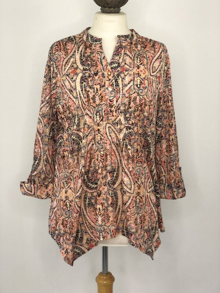 XL New Directions Black/Pink/Green Paisley Multicolor Tunic