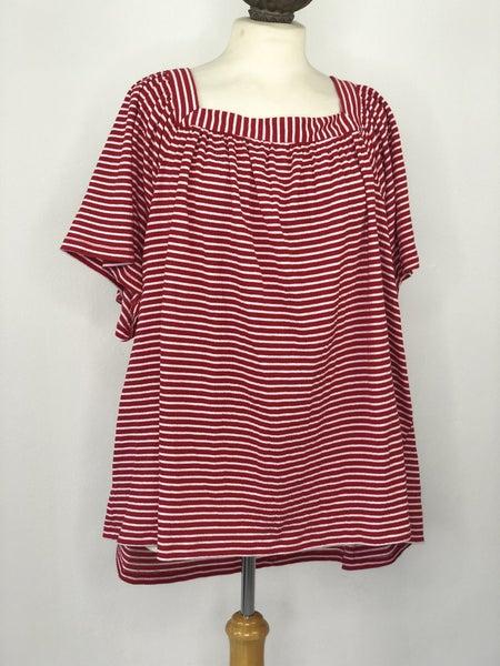 3X Kim Rogers Red/White Stripe Top