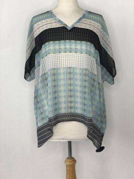 M Cabi Stripe White/Blue/Black Blouse