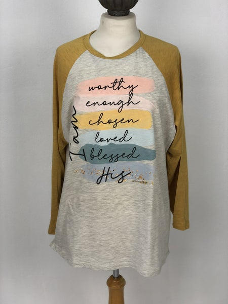"""Pink Armadillos """"I am Worthy Enough Chosen Loved Blessed His"""" Baseball Tee"""