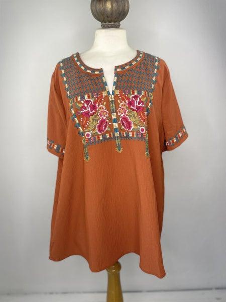 1X Entro Embroidered Orange Top