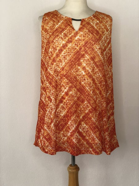 0X Catherine's Orange Print Sleeveless Top