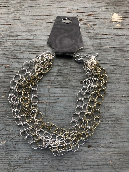 Gold & Silver Tone Chain Link Necklace