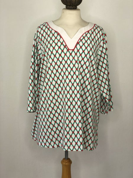 2X Susan Graver Weekend White/Green/Red Tunic