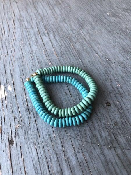 Shades of Turquoise Bead Stretch Bracelet (Set of 2)