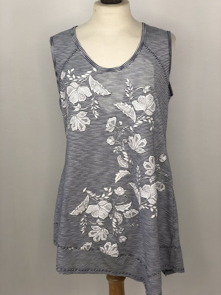 M New Directions Striped Floral Tank