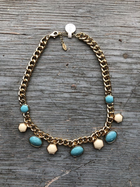 Turquoise/Cream Bead Gold Tone Chain Necklace