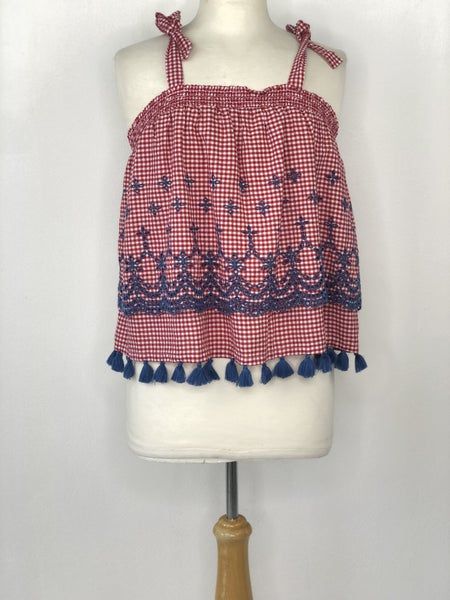 S Crown & Ivy Red/White Gingham & Blue Eyelet Sleeveless Top NWT