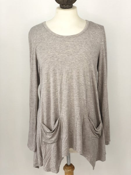 L GRACE Gray Heather Top