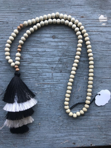 Wood Bead Necklace with Large Black and White Tassel