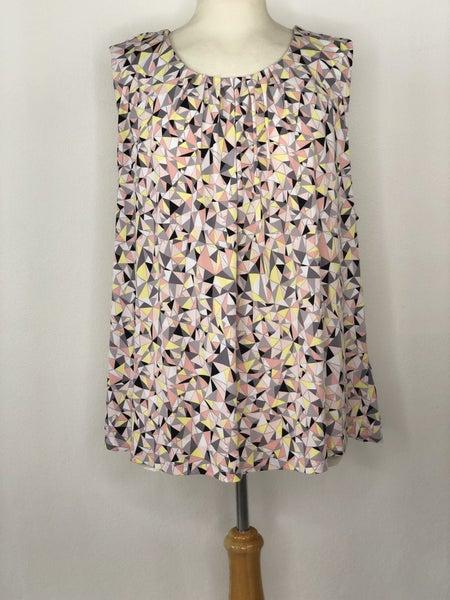 3X Calvin Klein Pink/Yellow Grey Triangle Geometric Print Sleeveless Blouse