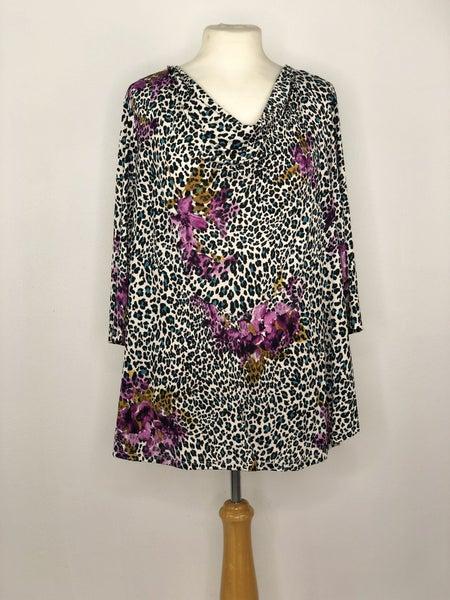 L Southern Lady Teal/Purple/Black/White Animal Print Drape Neck Top