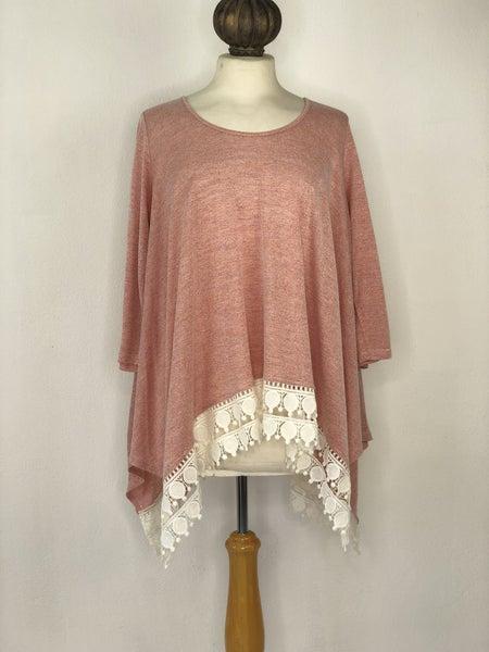 S Jodifl Pink Heather Tunic w/ Lace Trim