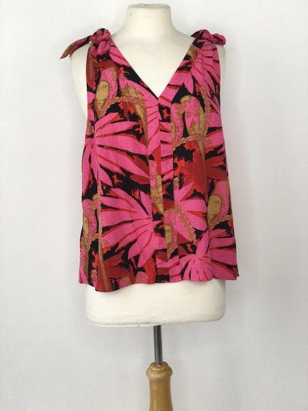 M J. Crew Pink/Khaki/Black Floral Sleeveless Top