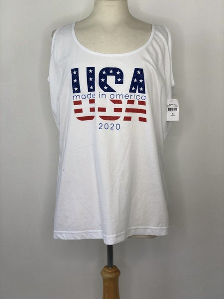 "XL White ""USA Made In America"" Tank"