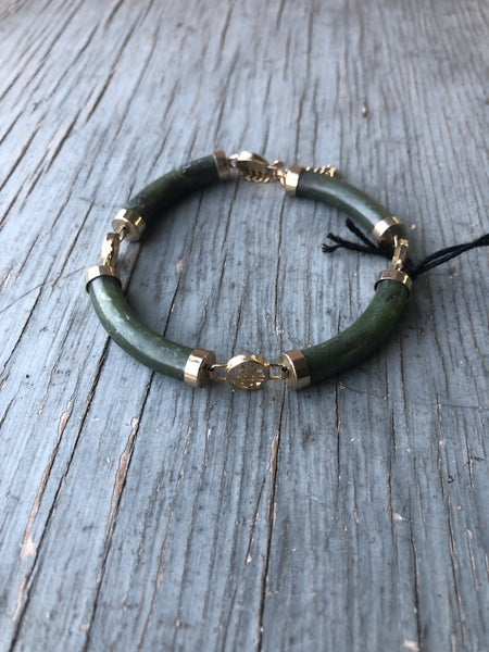 Faux Jade and Gold Bracelet