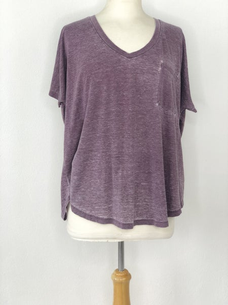 XL American Eagle Girlfriend Purple Distressed Heather Tee
