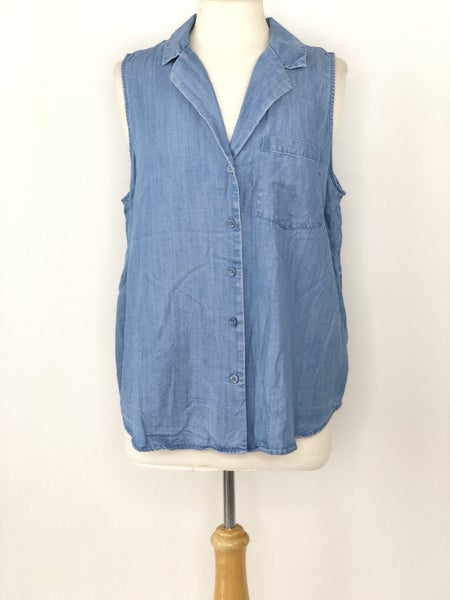 XL Who What Wear Chambray Button Down Sleeveless Tank