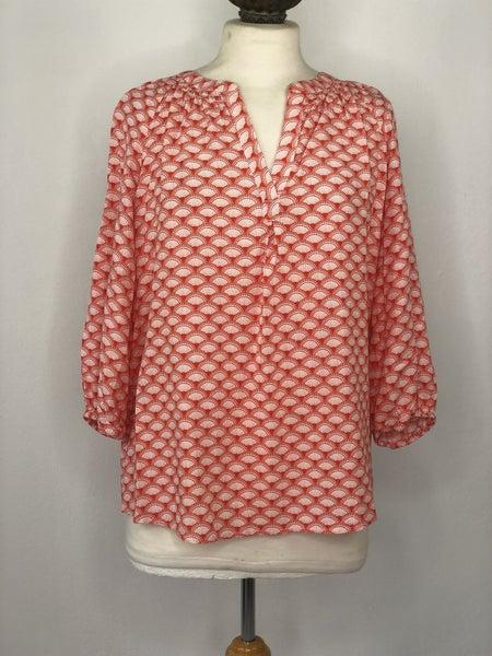 L Crown & Ivy Orange Shell Print Tunic