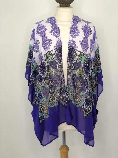 L/XL Chico's White/Purple/Green Paisley Kimono