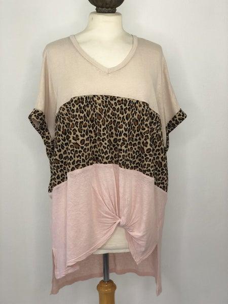 S Umgee Nude/Animal Print/Blush Linen Blend Top
