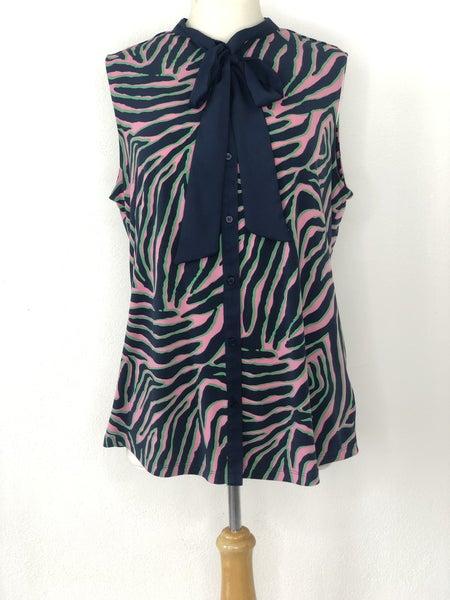 L Anne Klein Navy/Pink/Green Tiger Stripe Sleeveless Top