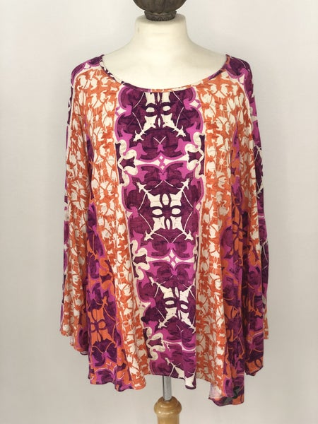 XL Chico's Orange/Purple Floral Top