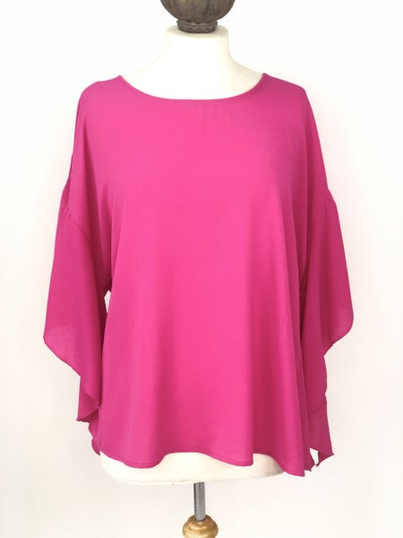 XL Umgee Hot Pink Ruffle Blouse