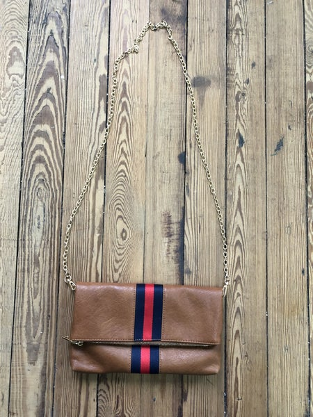 Moda Luxe Faux Leather Foldover Clutch w/ Red/Blue Ribbon