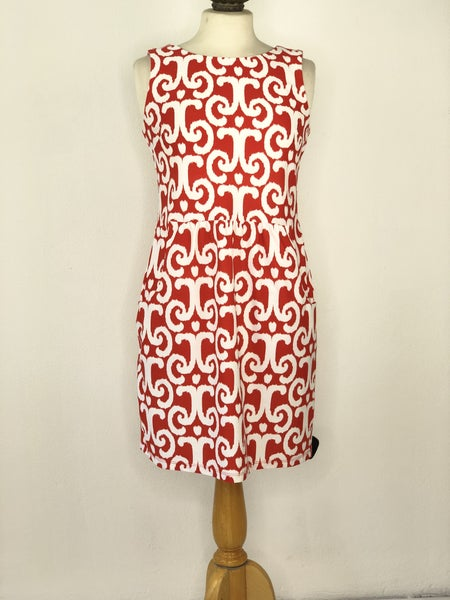 S Jude Connally Orange Patterned Dress w/ Pockets