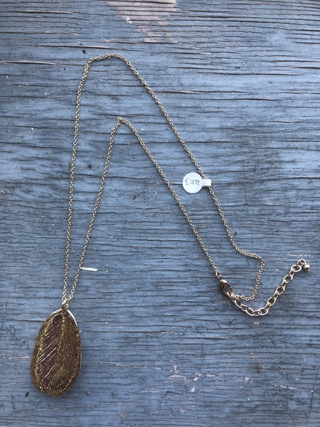 Gold Necklace with Gold Leaf Pendant