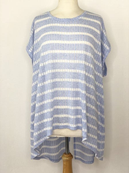 3X New Directions Weekend Light Blue/White Stripe Ribbed Knit Top