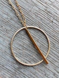 Circle Bar Drop Necklace