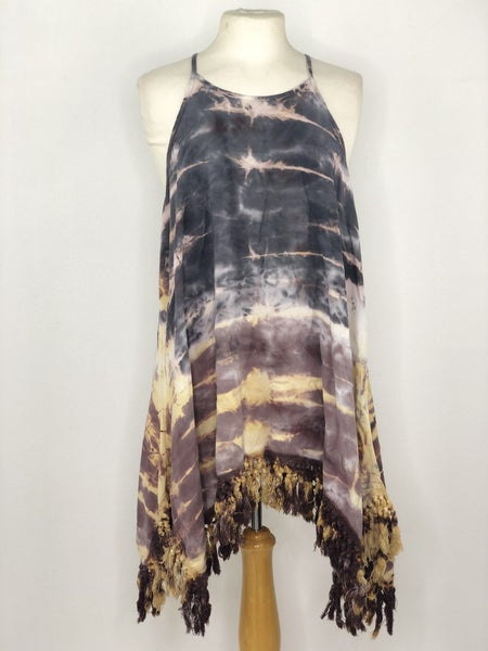 L By Together Gray/White/Yellow Tie Dye Sleeveless Tunic