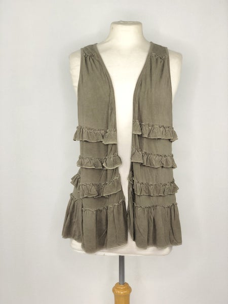 S POL Olive Green Ruffle Vest