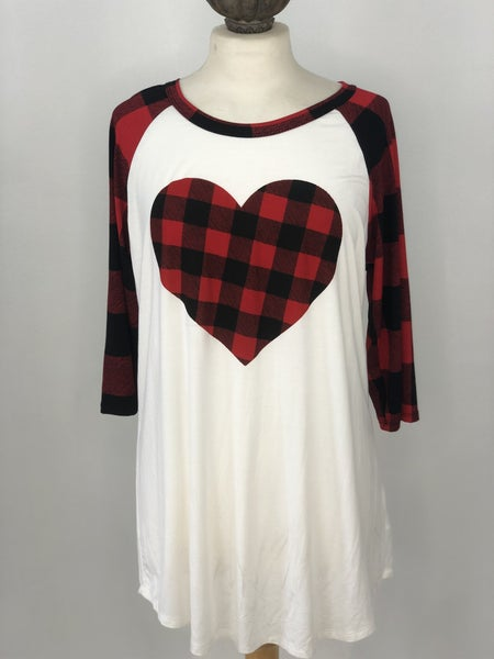 L Red Buffalo Check Heart Top NWT