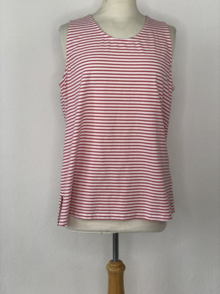 L Zynergy by Chico's Pink/White Stripe Tank