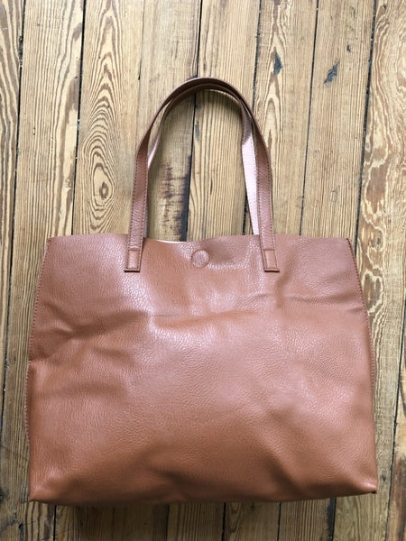 Faux Leather Large Brown Tote