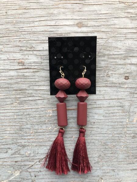 Garnett Ceramic Shapes & Tassel Earring
